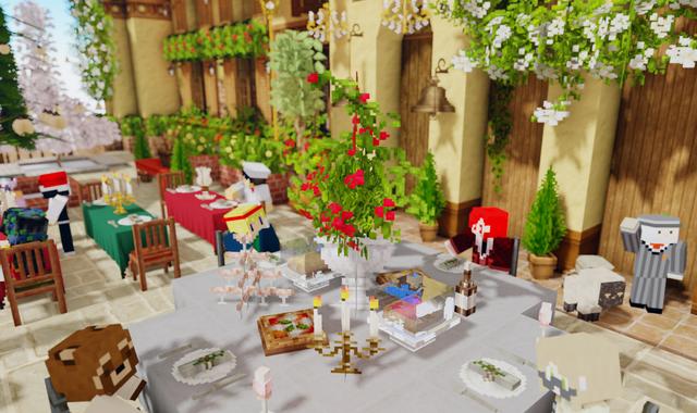 パーティ テーブル 赤いお花.png